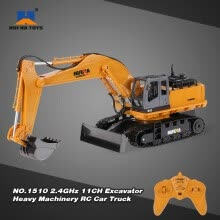 -Original HUI NA TOYS NO.1510 2.4GHz 11CH Alloy Engineering Electronic Excavator Heavy Machinery RC Toys Car Truck on JD