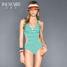 -BALNEAIRE 60561 hot spring bathing suit female Siamese 2019 new sexy striped small chest gathered swimsuit covered belly slim green stripes L on JD