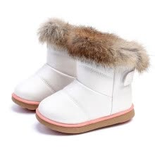 875062575-Winter Fashion child girls snow boots shoes warm plush soft bottom baby girls boots leather winter snow boot for baby on JD