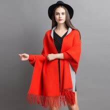 cardigans-Women's autumn/winter 2018 new dress double cape shawl loose mid-length cardigan jacket women's sweater on JD