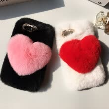 -Love Heart Case For Samsung Galaxy Note FE Note Fan Edition Cute Rabbit Cover Hairy Fur Fluffy Phone Case on JD