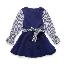 -Blue long-sleeved striped sleeve girl dress fall girl dress children's princess skirt Korean version of the children's dress Chang on JD