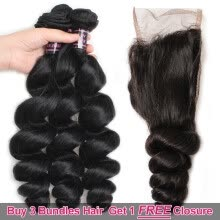 -Ishow Hair Bigest Spring Sale Buy 3 Bundles Loose Wave Hair Get 1 Free Lace Closure on JD