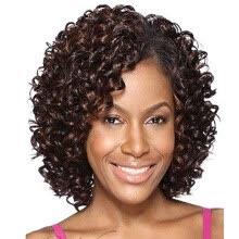 -QianBaiHui Short Kinky Curly Wigs for Black Women - American African Women's Wig Heat Resistant Synthetic Hair Fashion Full Wigs on JD