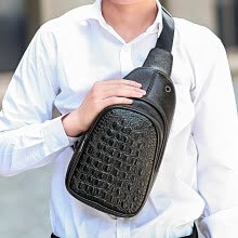 crossbody-bags-New pattern Man Crocodile grain Soft handle PU skin Ventilation Bao on JD