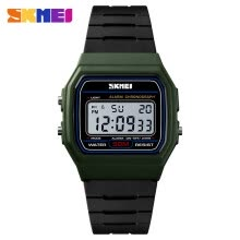 -SKMEI 1412 Men Analog Digital Watch Fashion Casual Sports Wristwatch Time Display Alarm 5ATM Waterproof Leather Strap Backlight on JD