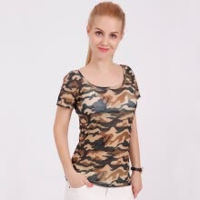 -Women's clothing t shirt 2019 summer print knitting Army camouflage tshirt big o-neck tops tees shirts female casual short sleeve on JD