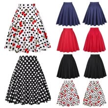 -Women Summer High Waist Skirt Sundress Pure Color Wave Dot Cherry Dress S-XXL on JD