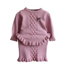 -Little-Seven Baby 2019 Korean Girls Set Spring Knitted Dress Jacquard Ruffled Tops Kids 6664 on JD