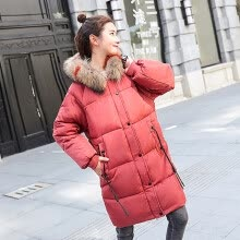 -JOY OF JOY 2018 winter new cotton jacket female Korean version of the long section over the knee cotton clothing loose wild large fur collar coat jacket female JWMF189369 red L on JD
