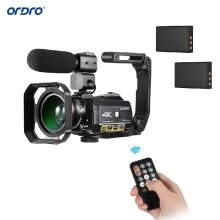 mini-cameras-ORDRO AC3 4K WiFi Digital Video Camera Camcorder DV Recorder 24MP 30X Zoom IR Night Vision 3.1 Inch IPS LCD Touchscreen with 2pcs on JD