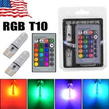 -2PCS T10 W5W 5050 6SMD RGB LED Multi Color Light Car Wedge Bulbs Remote Control on JD