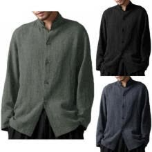 -Mens Stylish Ultra-Thin Cotton Linen Blend Long Sleeve Casual Standing Collar Shirts Tops Blouse on JD
