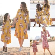 weddings-events-Mother and Daughter Casual Boho Floral Maxi Dress Mommy&Me Matching Outfits on JD