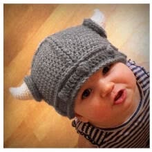 -Cute Children Infant Winter Knitted Hat Handmade Crochet Hat Viking Horns Hat on JD