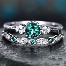 -Luxury Green Blue Stone Crystal Rings For Women Sliver Color Wedding Engagement Rings Jewelry on JD