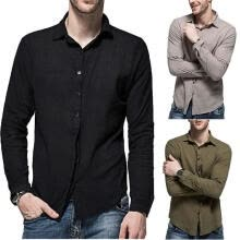 -Luxury fashion men slim casual solid color long-sleeved linen shirt top on JD