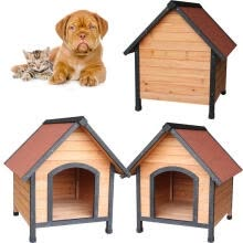 -Ktaxon A-Frame Dog House Wooden Pet Outdoor Shelter Waterproof Home Orange on JD
