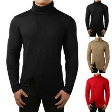 -Men Thermal High Collar Turtleneck Pullover Long Sleeve Sweater Stretch Shirt on JD