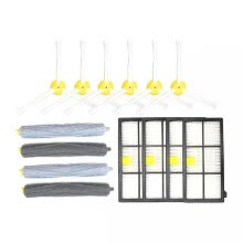 -Replacement Parts 6Pcs Side Brushes + 4Pcs HEPA Filters + 2Pcs Front Debris Extractor + 2Pcs Rear Debris Extractor for Roomba 800 on JD
