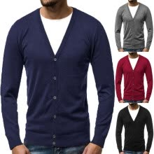 -Men Knitted V Neck Knitwear Coat Outwear Cardigan Jacket Pullover Sweater Top on JD