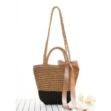 -2017 Japanese holiday wind grass bread package tourism resort beach bag shoulder color uniform color female woven bag free ship on JD