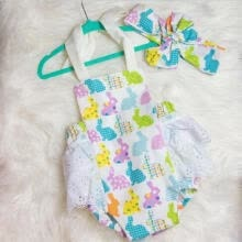 -Hot Sale!! My 1st Easter Newborn Baby Girl Romper Bodysuit Sunsuit+Headband Outfits Clothes on JD