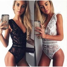 -Sexy Perspective Deep V Lace Bodysuit Women Summer Hollow Out Mesh Bodycon Jumpsuit Body Overalls on JD