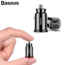 -Baseus Car Charger 3.1A Max Fast Car Charging Dual USB Car Charger Adapter Mobile Phone Charger  iPhone Samsung Xiaomi Qi Charging on JD