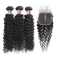 -Ishow Malaysian Kinky Curly Hair With Closure 3Bundles 7A Malaysian Kinky Curly Virgin Hair With Closure 100% Human Hair on JD