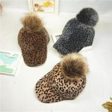 -Women Baby Baseball Cap Leopard Cap with Hair Ball Hats Winter Autumn Headdress on JD