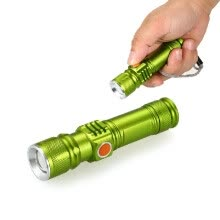 -USB Rechargeable Flashlight Telescopic Zoomable Electric Torch 3 Mode LED Flashlight Ultra Bright Lamp for Hunting Camping Cycling on JD
