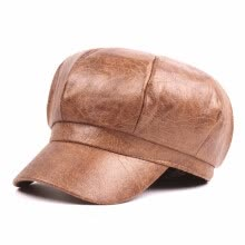 hats-caps-Womens Brown Peaked Caps Soft Faux Leather Hat Newsboy Ivy Cap for Men Women on JD