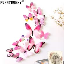 -FUNNYBUNNY 12pcs Removable 3D Butterfly Wall Stickers Decals DIY Wall art Decor Home Wall Decoration Sticker Mural on JD