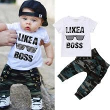 -Newborn Toddler Baby Boys Hip Hop Tops T-shirt Camouflage Pants Outfits Set Clothes on JD