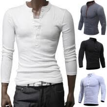-Hot Casual Men Autumn Cotton  Muscle Tee Slim T-Shirt Long Sleeve Linen Shirt Solid Color Tops on JD