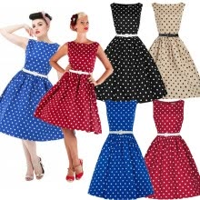 -Women Vintage Style Pinup Swing Evening Party Sleeveless Rockabilly Retro Dress on JD