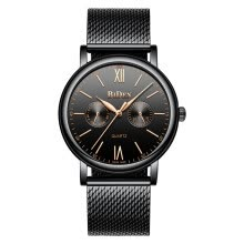 couple-watches-Biden Biden five-needle calendar week multi-function ultra-thin mesh belt waterproof men's watch men's watch on JD