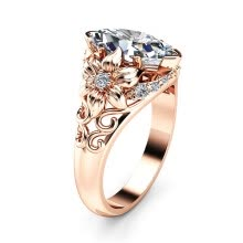 -2019 New Fashion Clear CZ Stone Rose Gold Color Flower Wedding Rings For Woman Dropshipping on JD