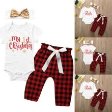 -New My First Christmas Baby Boy Girl Romper Bodysuit Pants Clothes Outfit 0-18M on JD