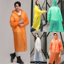 -Unisex Waterproof Jacket Clear Raincoat Rain Coat Hooded Poncho Rainwear Men SM on JD