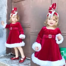 -Princess Kids Baby Girls Velvet Dress Party Pageant Wedding Santa Red Dresses on JD