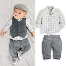 -New Newborn baby boy Grey Waistcoat + Pants + Shirts clothes sets Suit 3PCS on JD