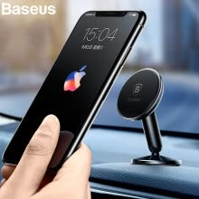 -Baseus Metal Car phone Holder for Phone iphone X 8 7 6 360 Degree Universal Car Mount Phone Holder For Samsung S9 HuaWei Xiaomi on JD