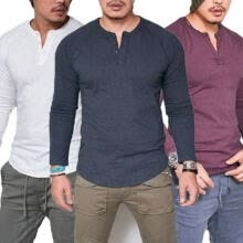 -Fashion Men's Slim Fit V Neck Long Sleeve Muscle Tee T-shirt Casual Tops Blouse on JD