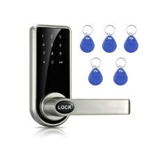 -Intelligent Electronic Door Lock Code Cards Mechanical Keys Touched Screen Keypad Digital Password Lock Keyless on JD