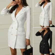 -Women Long Sleeve V Neck Double Breasted Blazer Dress Office Lady Mini Dress on JD