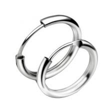 -New Sale The  European and American Fashion Simple Gold Plated Round Hoop Earrings Silver Earrings on JD