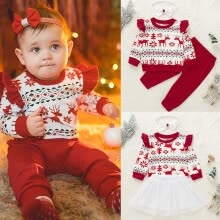 -Infant Baby Girl Xmas Outfits Long Sleeve Tops Pants Headband Winter Clothes Set on JD