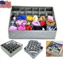 -30 Cells Bamboo Charcoal Underwear Ties Sock Drawer Closet Organizer Storage Box on JD